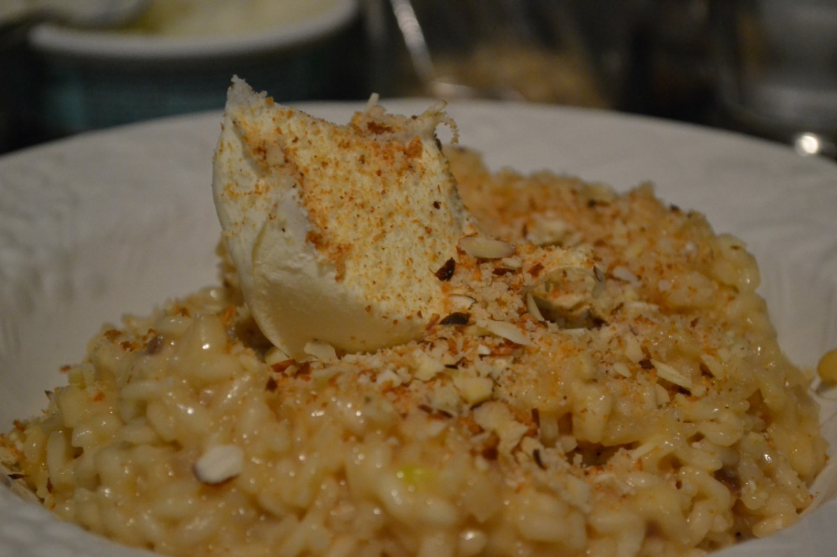 Roasted Sweet Garlic, Thyme and Mascarpone Risotto with Toasted Almonds and Breadcrumbs