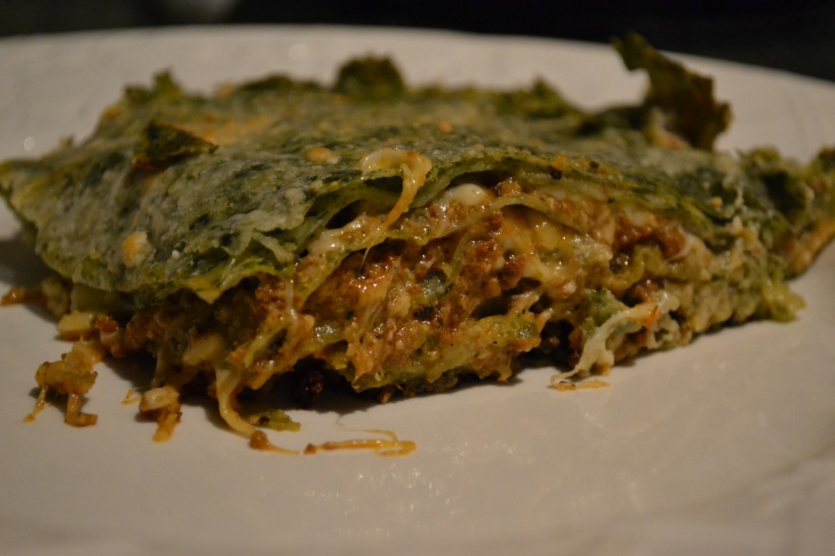 Spinach Pasta Lasagna with Bolognese and Bechamel