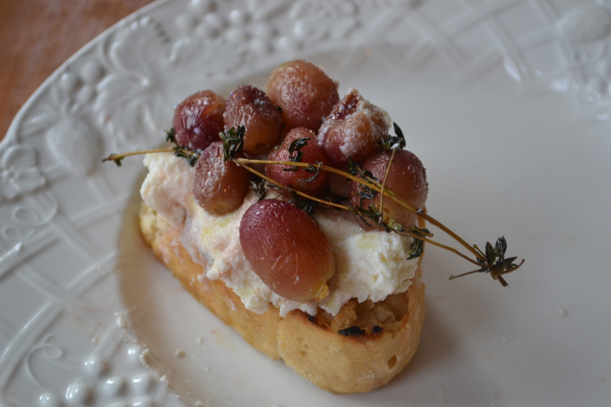 Roasted Grapes with Thyme, Fresh Ricotta, and Grilled Bread
