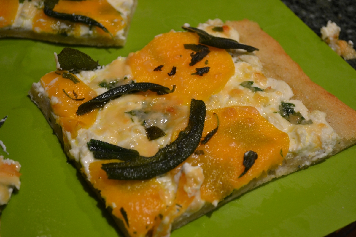 Butternut Squash White Pizza with Crispy Fried Sage Leaves